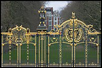 Gilded grids and park near Buckingham Palace. London, England, United Kingdom