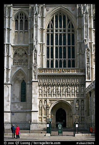 Facade and entrance to the Collegiate Church of St Peter, Westminster. London, England, United Kingdom (color)