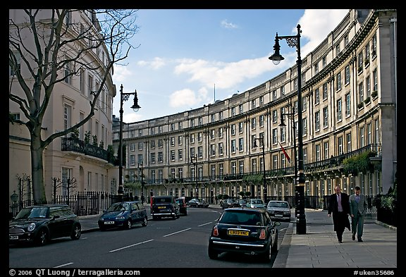 Street and townhouses crescent. London, England, United Kingdom