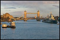 Thames River, Tower Bridge, HMS Belfast, late afternoon. London, England, United Kingdom