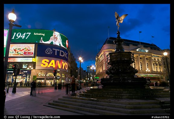 Neon advertising and Eros statue, Piccadilly Circus. London, England, United Kingdom
