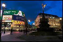 Neon advertising and Eros statue, Piccadilly Circus. London, England, United Kingdom (color)