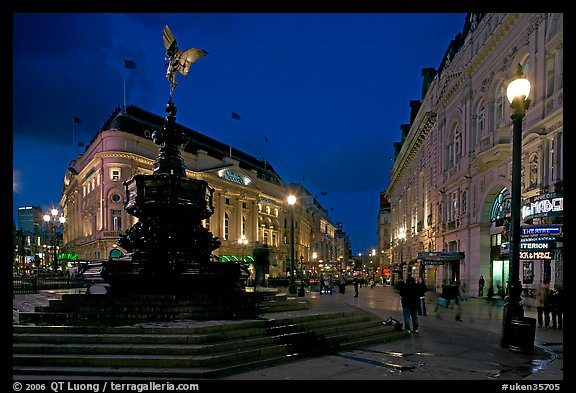 Eros statue and streets at dusk, Picadilly Circus. London, England, United Kingdom