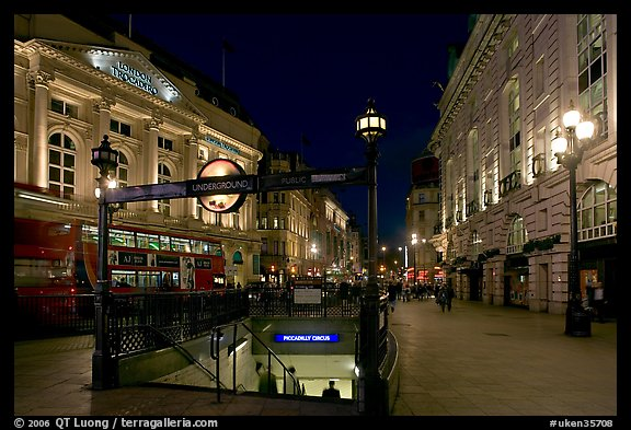 Underground station entrance at dusk, Piccadilly Circus. London, England, United Kingdom