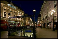 Underground station entrance at dusk, Piccadilly Circus. London, England, United Kingdom (color)