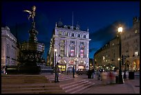 Piccadilly Circus and Eros statue at night. London, England, United Kingdom (color)