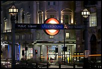 Subway entrance at night, Piccadilly Circus. London, England, United Kingdom