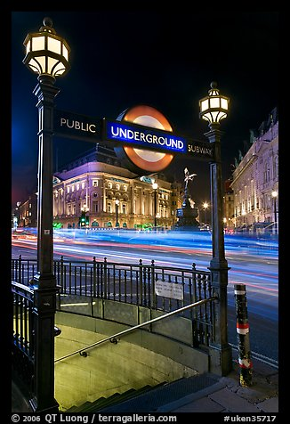 Underground  entrance and lights from traffic at night, Piccadilly Circus. London, England, United Kingdom