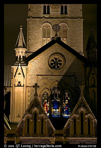 Southwark Cathedral detail at night. London, England, United Kingdom (color)