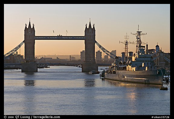 London Bridge, River Thames, and cruiser HMS Belfast at sunrise. London, England, United Kingdom (color)