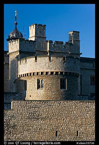 Turrets, outside wall, Tower of London. London, England, United Kingdom (color)
