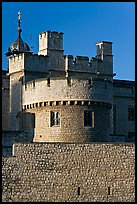 Turrets, outside wall, Tower of London. London, England, United Kingdom
