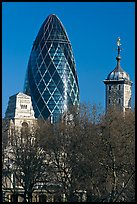 Swiss Re Tower (also known as 30 St Mary Axe, or The Gherkin), designed by Norman Foster. London, England, United Kingdom