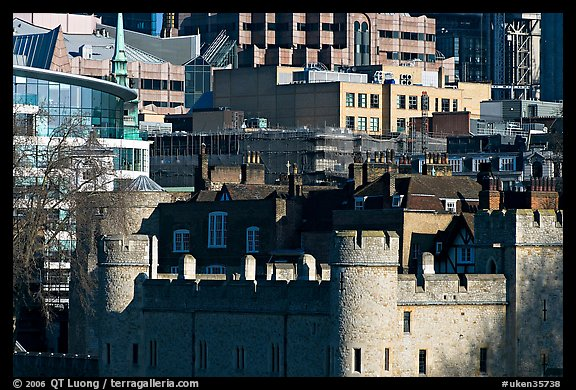 Tower of London and modern buildings. London, England, United Kingdom (color)