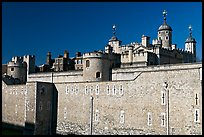 Outer wall and White Tower, Tower of London. London, England, United Kingdom (color)