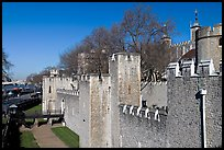 Rampart with crenallation,  Tower of London. London, England, United Kingdom