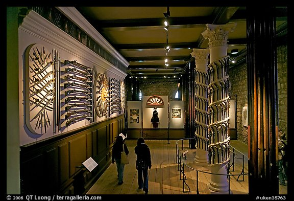 Part of the fine exhibit of arms in the White House, Tower of London. London, England, United Kingdom (color)