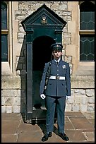 Sentry posted in front of the Jewel House in the Tower of London. London, England, United Kingdom (color)