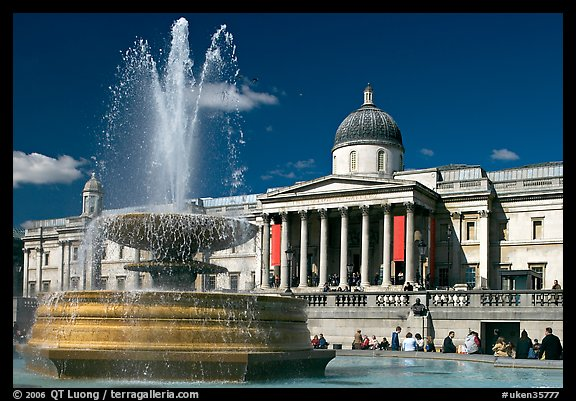 Fountain and National Gallery, Trafalgar Square, mid-day. London, England, United Kingdom (color)