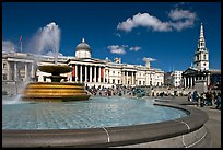 Fountain, National Gallery, and  St Martin's-in-the-Fields church, Trafalgar Square. London, England, United Kingdom
