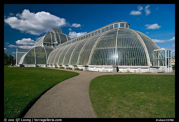 Palm House, built mid 19th century, first large-scale structural use of wrought iron. Kew Royal Botanical Gardens,  London, England, United Kingdom (color)
