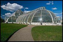 Palm House, built mid 19th century, first large-scale structural use of wrought iron. Kew Royal Botanical Gardens,  London, England, United Kingdom ( color)