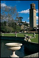Vasques, lake and campanile. Kew Royal Botanical Gardens,  London, England, United Kingdom (color)