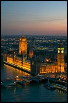 Aerial view of Westminster Palace from the London Eye at sunset. London, England, United Kingdom