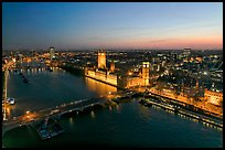 Aerial view of Thames River, Westmister Bridge and Palace at dusk. London, England, United Kingdom ( color)