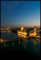 Aerial view of Thames River and Houses of Parliament at dusk. London, England, United Kingdom ( color)