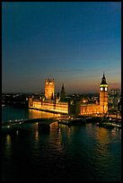 Thames River and Houses of Parliament at night seen from the London Eye. London, England, United Kingdom ( color)