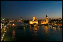 River Thames and Westmister Palace at night. London, England, United Kingdom