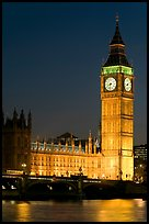 Big Ben and Westminster Bridge at night. London, England, United Kingdom ( color)