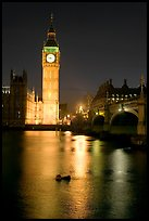 Big Ben reflected in Thames River at night. London, England, United Kingdom (color)
