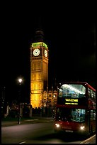 Double-decker bus and Big Ben at night. London, England, United Kingdom ( color)