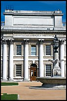 Classical facade in Old Royal Naval College. Greenwich, London, England, United Kingdom (color)