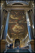 Painted Hall of Greenwich Hospital, decorated by Sir James Thornhill in 19 years. Greenwich, London, England, United Kingdom ( color)