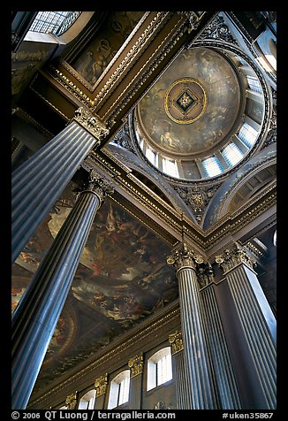Columns and entrance of Painted Hall of Greenwich Hospital. Greenwich, London, England, United Kingdom (color)