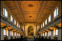 Chapel interior with richly decorated ceiling, Greenwich University. Greenwich, London, England, United Kingdom