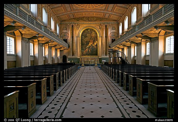 Chapel, Greenwich Hospital. Greenwich, London, England, United Kingdom (color)