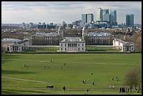 Greenwich Park lawn, Royal Maritime Museum, Greenwich Hospital, and Docklands. Greenwich, London, England, United Kingdom