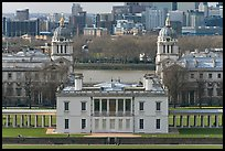 Queen's House, Greenwich Old Royal Naval College, and Thames River. Greenwich, London, England, United Kingdom (color)