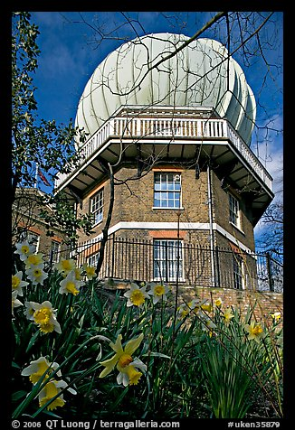 Royal Greenwich Observatory and daffodils. Greenwich, London, England, United Kingdom (color)