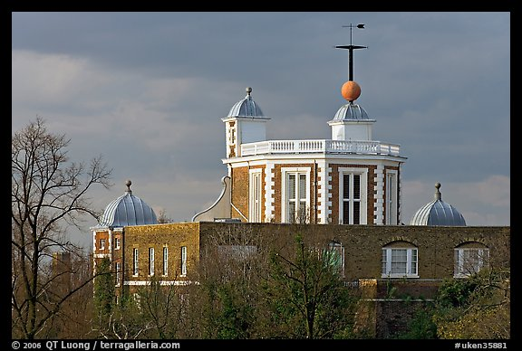 Red Time Ball on top of Flamsteed House, one of the world's first visual time signals. Greenwich, London, England, United Kingdom (color)