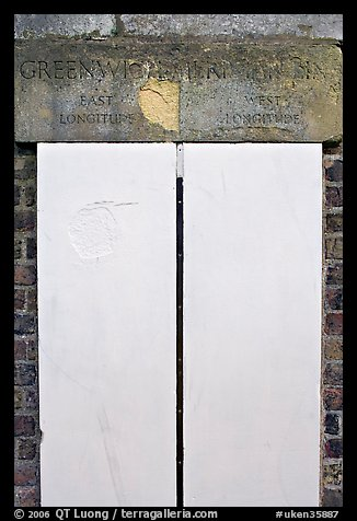 Greenwich meridian, or Prime meridian, the basis of Longitude, Royal Observatory. Greenwich, London, England, United Kingdom (color)