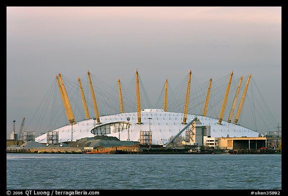 Millenium Dome at sunset. Greenwich, London, England, United Kingdom (color)