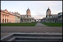Grand Square, Old Royal Naval College, sunset. Greenwich, London, England, United Kingdom (color)