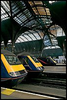 Trains in Paddington Railway station. London, England, United Kingdom (color)