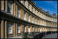 Georgian facades of townhouses on the Royal Circus. Bath, Somerset, England, United Kingdom (color)