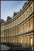 Indentical curved facades with three orders of architecture on each floor, the Royal Circus. Bath, Somerset, England, United Kingdom